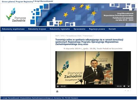 Transmisji online ze spotkania na temat Regionalnego Programu Operacyjnego Województwa Zachodniopomorskiego 2014-2020