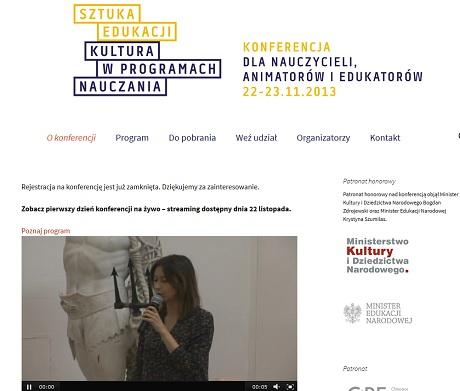 Sztuka Edukacji. Kultura w Programach Nauczania. Zachęta 2013